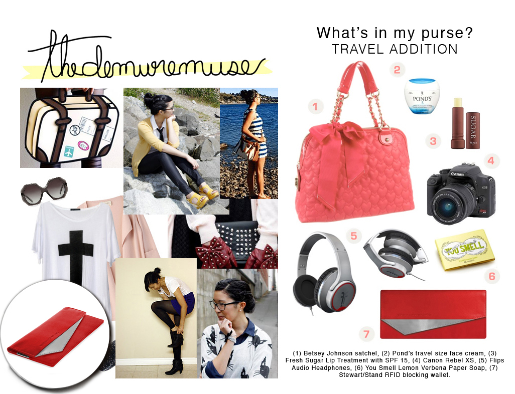 The Demure Muse, Katrina. What's in my purse? Travel Editition